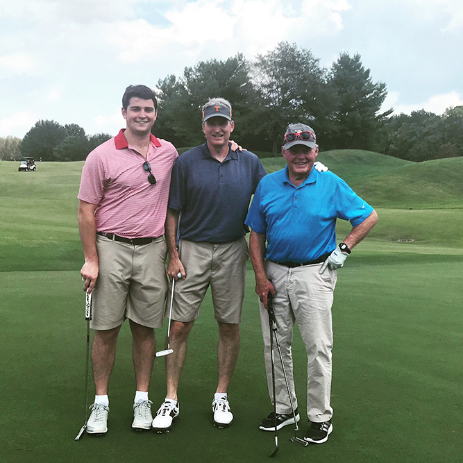 Graham and Al with former Brentwood Academy headmaster, Bill Brown, at the 2017 Eagles Classic.